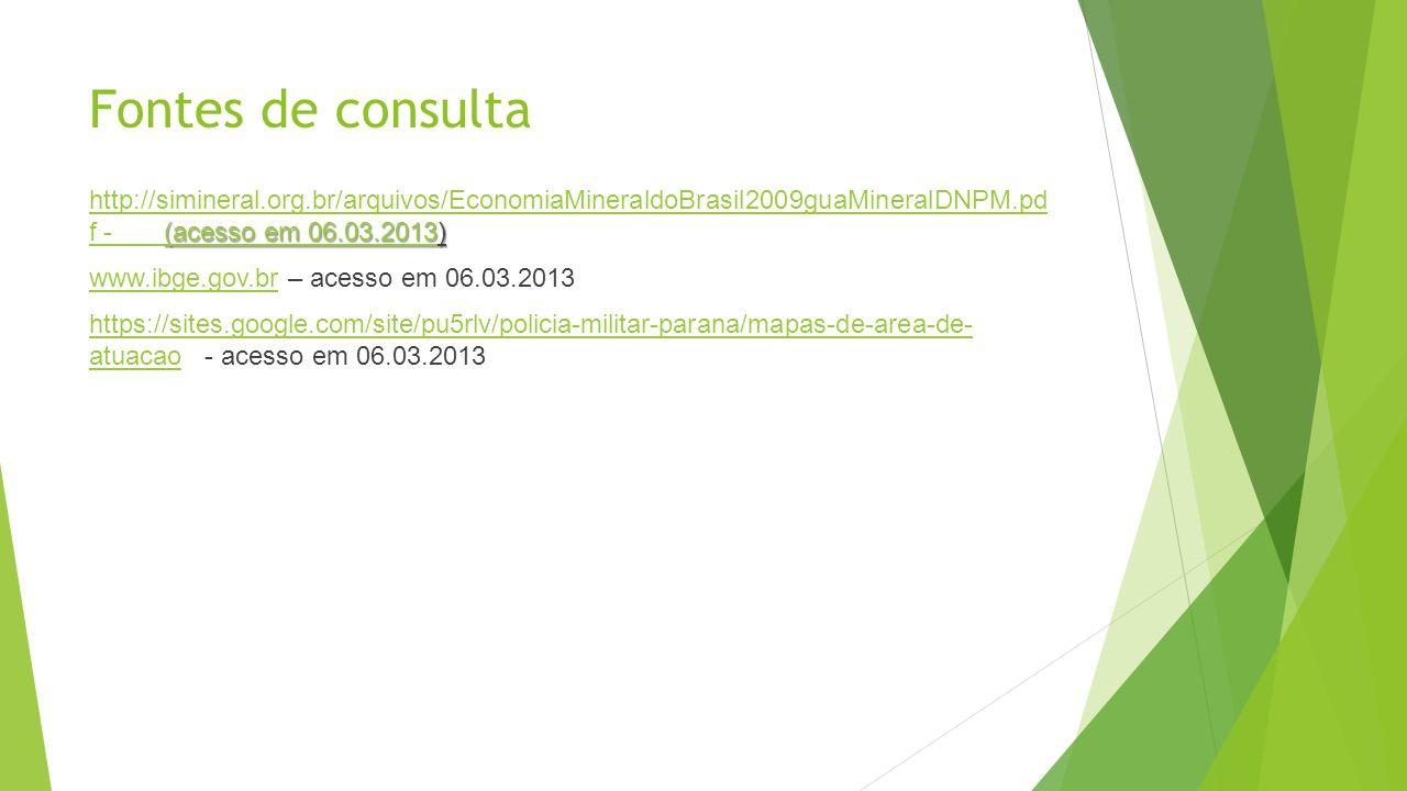 Fontes de consulta (acesso em 06.03.2013(acesso em 06.03.2013) http://simineral.org.br/arquivos/EconomiaMineraldoBrasil2009guaMineralDNPM.pd f - (aces