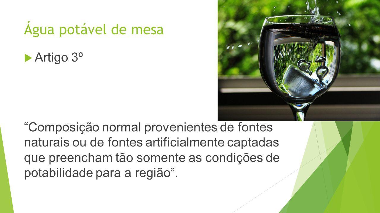 Água potável de mesa Artigo 3º Composição normal provenientes de fontes naturais ou de fontes artificialmente captadas que preencham tão somente as co