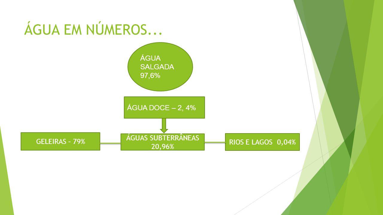 ÁGUA EM NÚMEROS... ÁGUA DOCE – 2, 4% GELEIRAS – 79% ÁGUAS SUBTERRÂNEAS 20,96% RIOS E LAGOS 0,04% ÁGUA SALGADA 97,6%