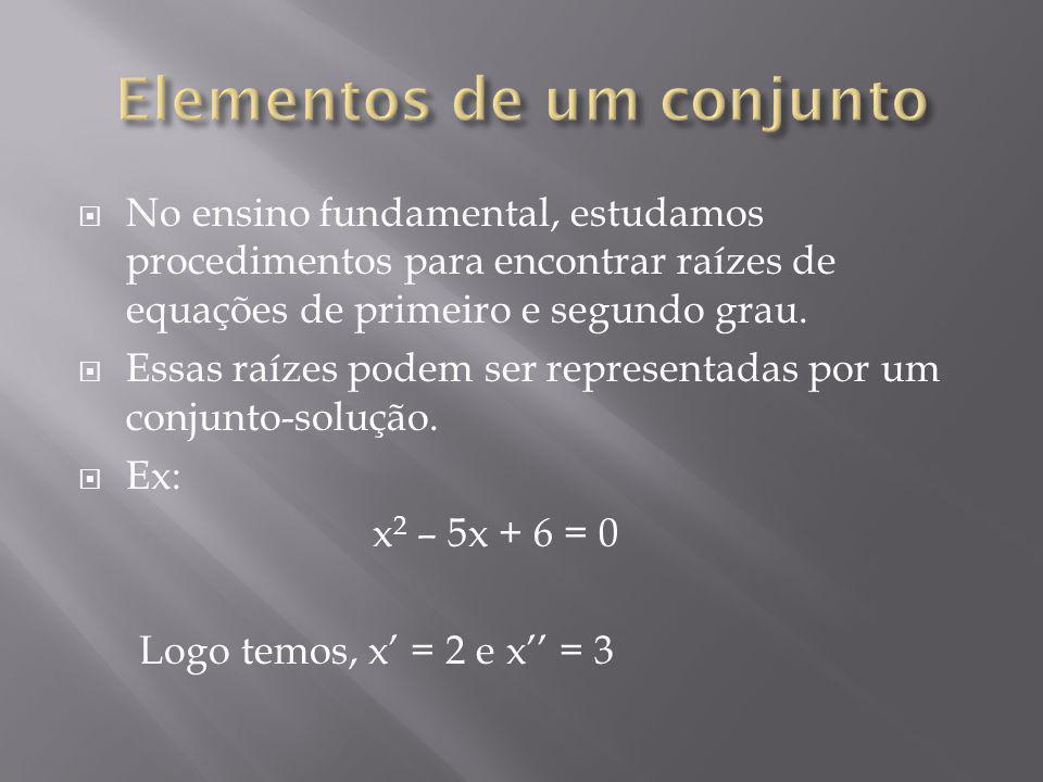 S S = { 2, 3} S = { x / x é solução da equação x 2 – 5x + 6 = 0} ( pertence) e (ñ pertence ) – elementos associados ao conjunto.