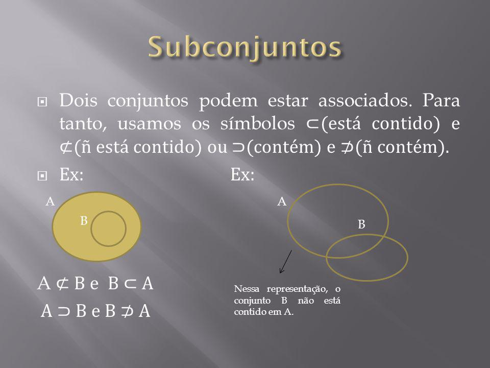 Dois conjuntos podem estar associados. Para tanto, usamos os símbolos (está contido) e (ñ está contido) ou (contém) e (ñ contém). Ex: Ex: A B e B A A