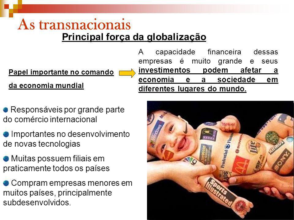 As transnacionais Papel importante no comando da economia mundial Responsáveis por grande parte do comércio internacional Importantes no desenvolvimen