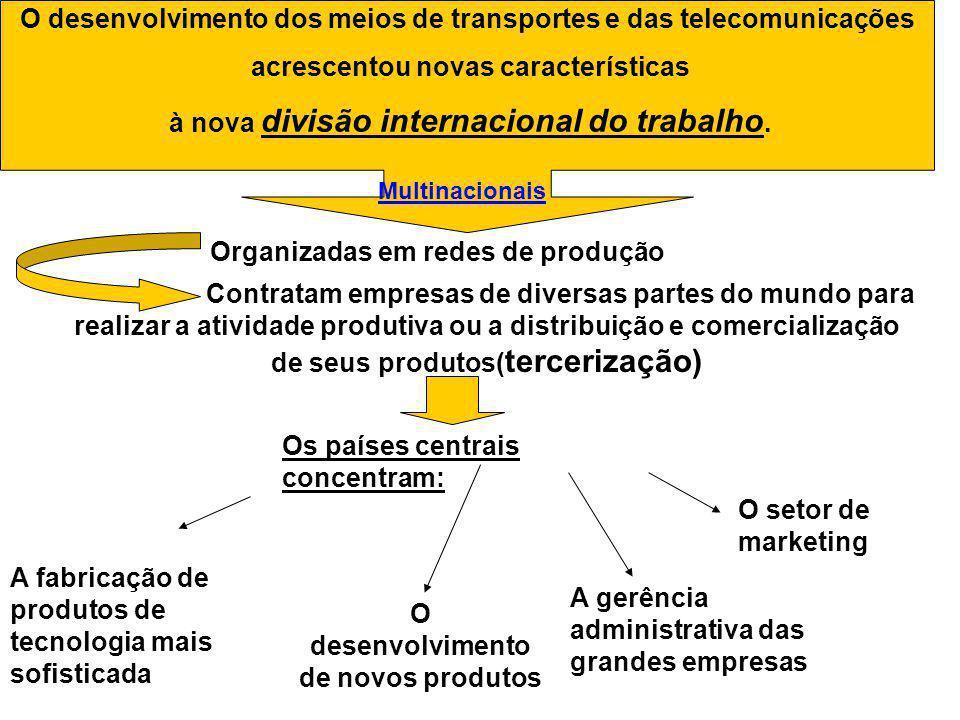 O desenvolvimento dos meios de transportes e das telecomunicações acrescentou novas características à nova divisão internacional do trabalho. Organiza