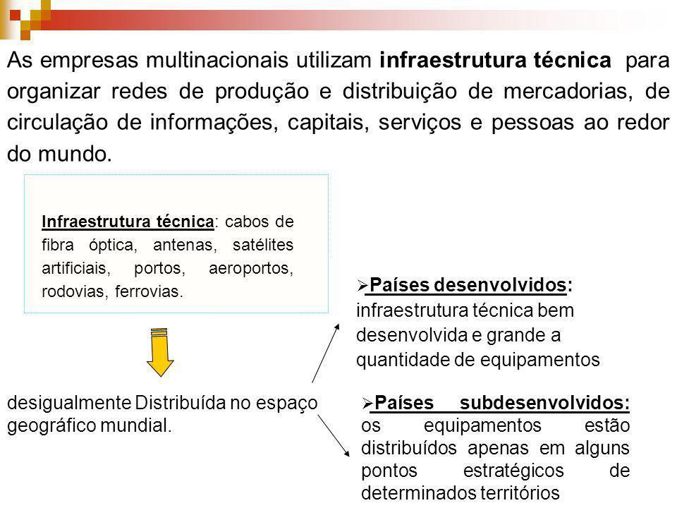 As empresas multinacionais utilizam infraestrutura técnica para organizar redes de produção e distribuição de mercadorias, de circulação de informaçõe