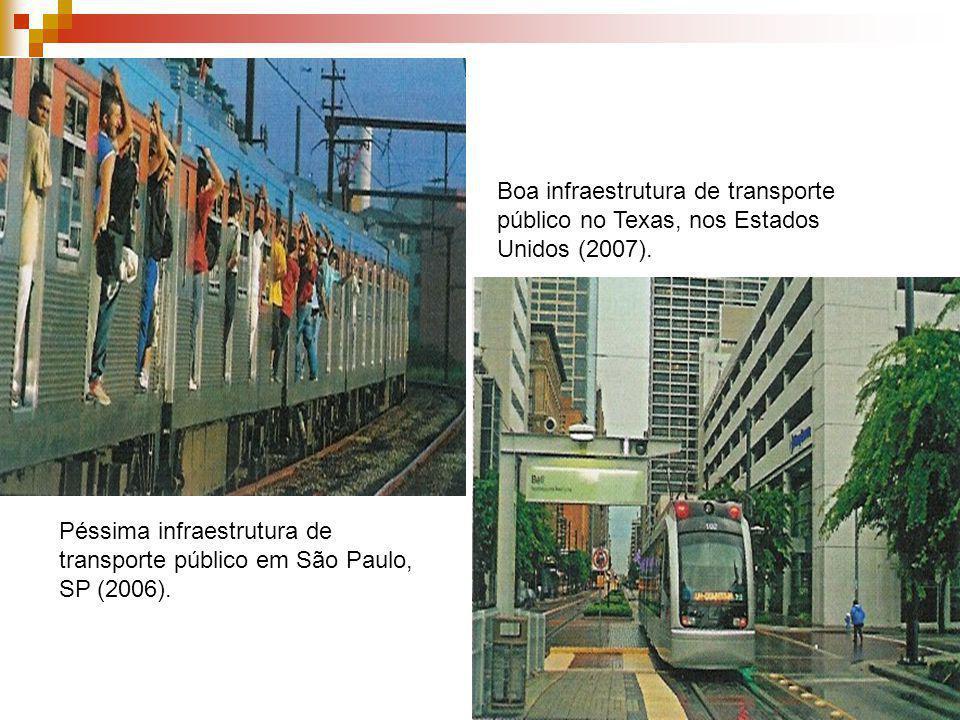 Péssima infraestrutura de transporte público em São Paulo, SP (2006). Boa infraestrutura de transporte público no Texas, nos Estados Unidos (2007).