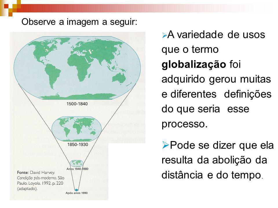 Observe a imagem a seguir: A variedade de usos que o termo globalização foi adquirido gerou muitas e diferentes definições do que seria esse processo.