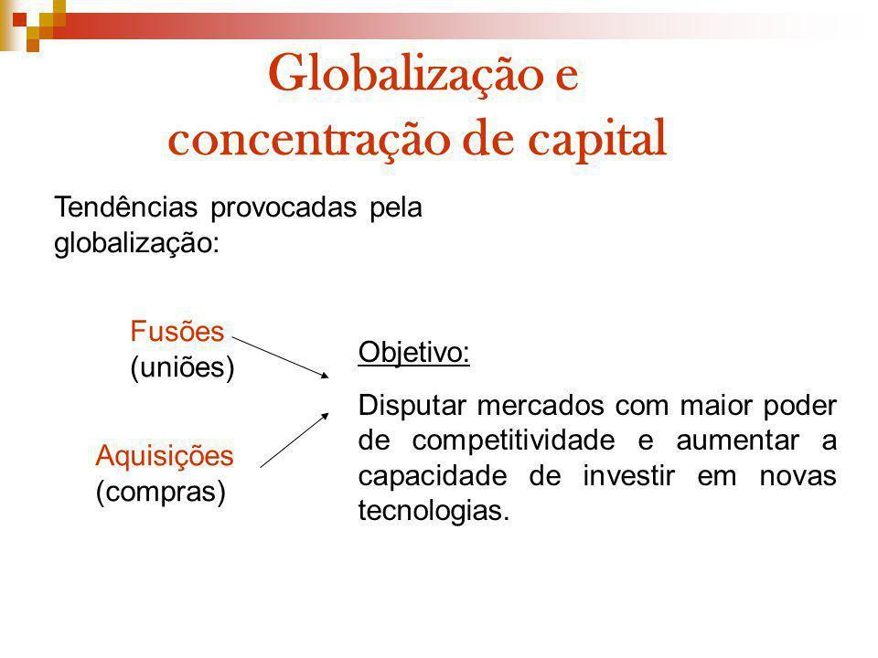 Globalização e concentração de capital Objetivo: Disputar mercados com maior poder de competitividade e aumentar a capacidade de investir em novas tec