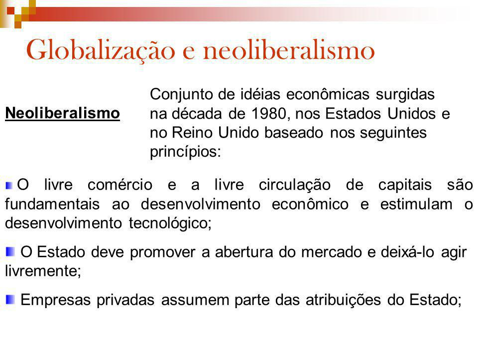 Globalização e neoliberalismo Neoliberalismo Conjunto de idéias econômicas surgidas na década de 1980, nos Estados Unidos e no Reino Unido baseado nos