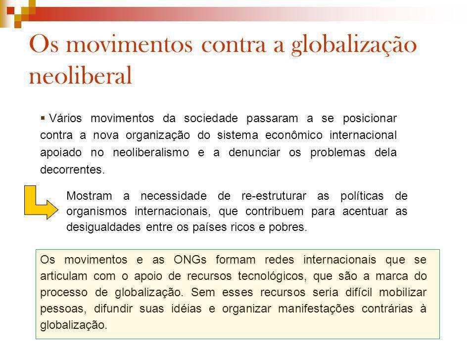 Os movimentos contra a globalização neoliberal Vários movimentos da sociedade passaram a se posicionar contra a nova organização do sistema econômico