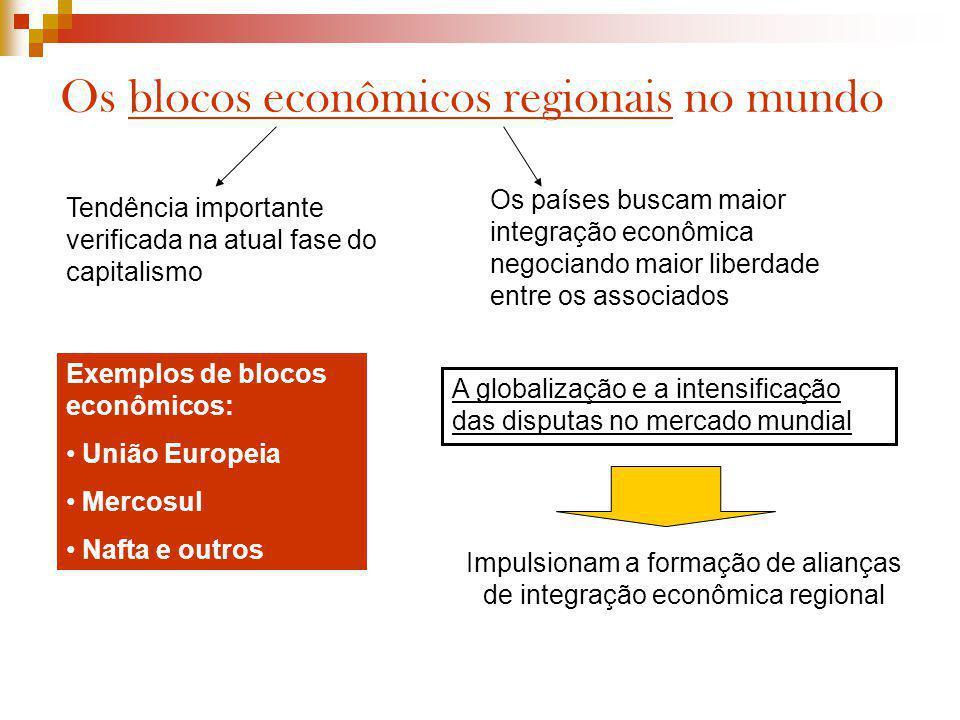 Os blocos econômicos regionais no mundo Tendência importante verificada na atual fase do capitalismo Os países buscam maior integração econômica negoc