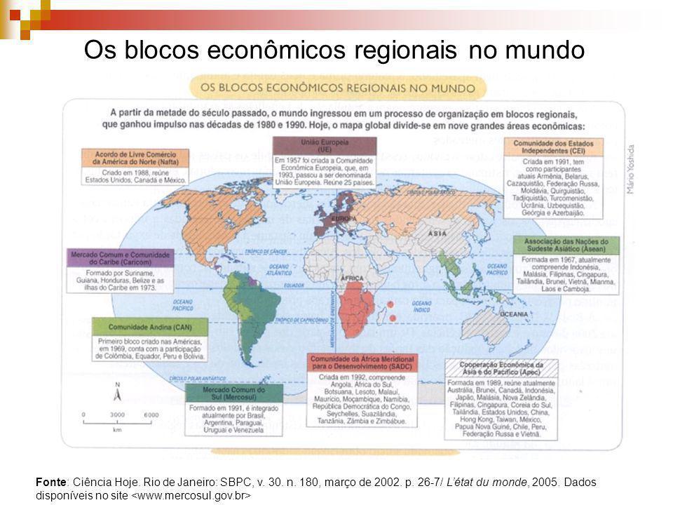 Os blocos econômicos regionais no mundo Fonte: Ciência Hoje. Rio de Janeiro: SBPC, v. 30. n. 180, março de 2002. p. 26-7/ Létat du monde, 2005. Dados