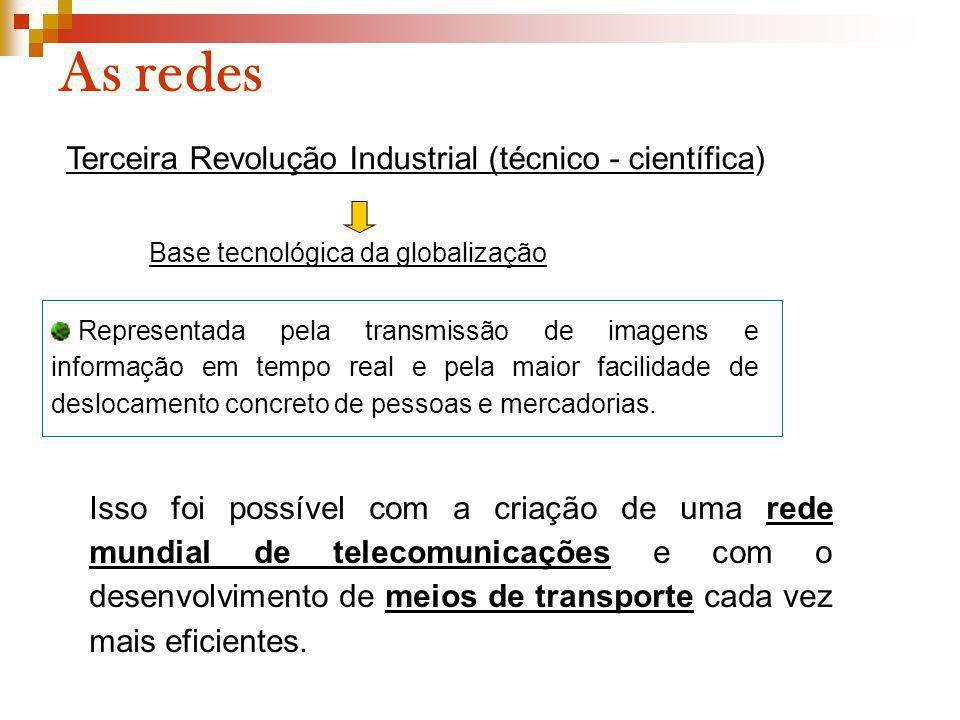 As redes Terceira Revolução Industrial (técnico - científica) Base tecnológica da globalização Representada pela transmissão de imagens e informação e