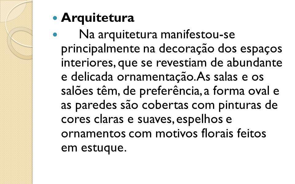 Arquitetura Na arquitetura manifestou-se principalmente na decoração dos espaços interiores, que se revestiam de abundante e delicada ornamentação. As