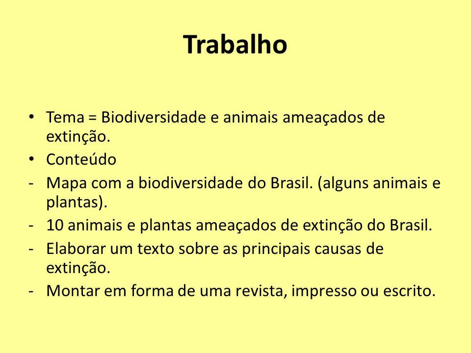 Trabalho Tema = Biodiversidade e animais ameaçados de extinção.