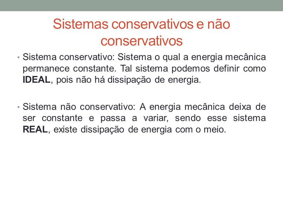 Sistemas conservativos e não conservativos Sistema conservativo: Sistema o qual a energia mecânica permanece constante. Tal sistema podemos definir co