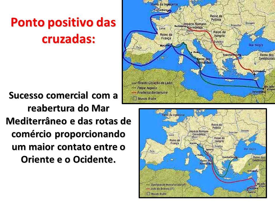 Ponto positivo das cruzadas: Sucesso comercial com a reabertura do Mar Mediterrâneo e das rotas de comércio proporcionando um maior contato entre o Or