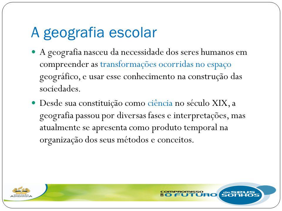A geografia escolar A geografia nasceu da necessidade dos seres humanos em compreender as transformações ocorridas no espaço geográfico, e usar esse c