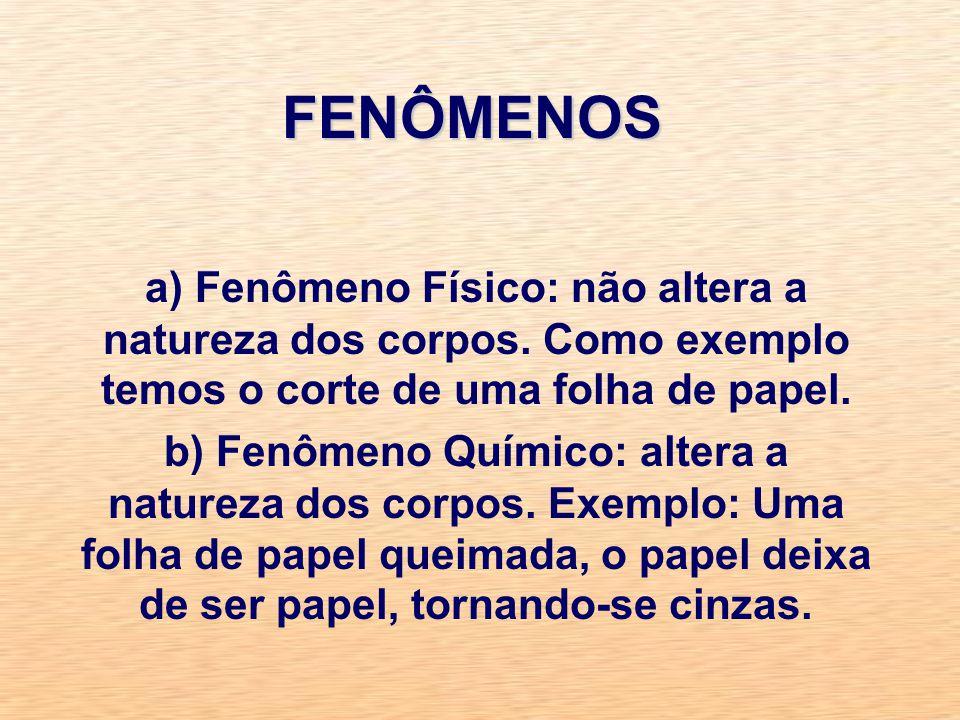 FENÔMENOS a) Fenômeno Físico: não altera a natureza dos corpos.