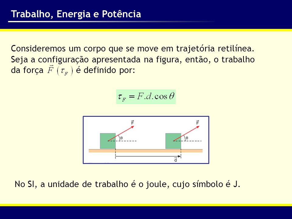 Trabalho, Energia e Potência O trabalho total realizado durante um deslocamento é a soma dos trabalhos realizados por cada força.