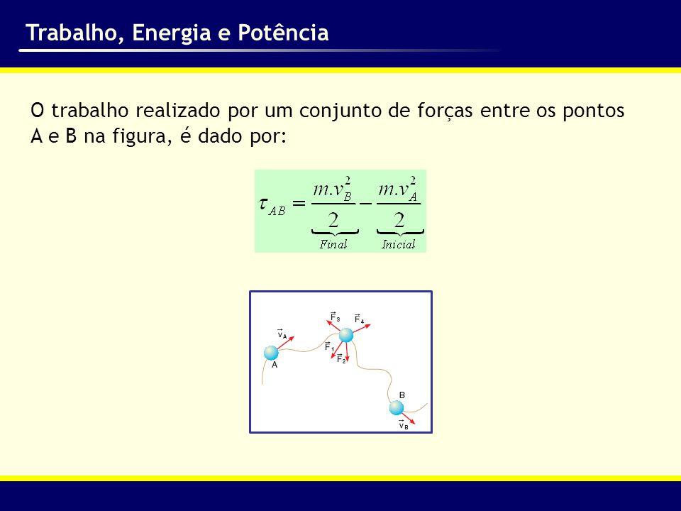 Trabalho, Energia e Potência Em função desse resultado, foi interessante definir a energia cinética (Ec) de um corpo, como sendo: Com isso, pode-se enunciar o Teorema da Energia Cinética (TEC): O trabalho total das forças atuantes numa partícula é igual à variação da energia cinética dessa partícula.