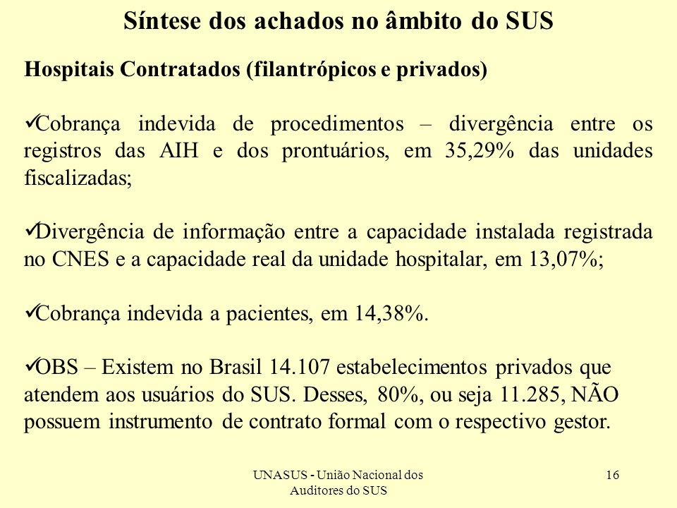 UNASUS - União Nacional dos Auditores do SUS 16 Síntese dos achados no âmbito do SUS Hospitais Contratados (filantrópicos e privados) Cobrança indevid