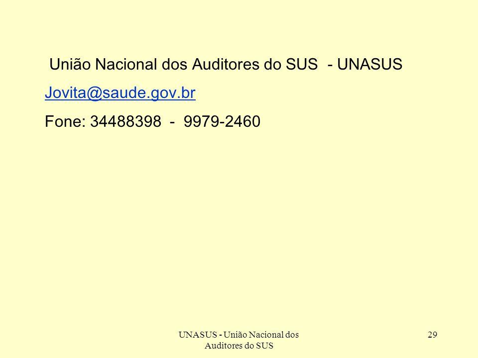 UNASUS - União Nacional dos Auditores do SUS 29 União Nacional dos Auditores do SUS - UNASUS Jovita@saude.gov.br Fone: 34488398 - 9979-2460