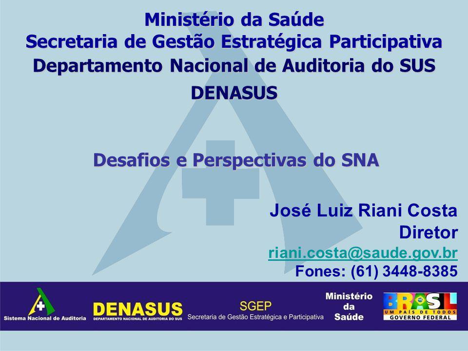 Departamento Nacional de Auditoria do SUS DENASUS José Luiz Riani Costa Diretor riani.costa@saude.gov.br riani.costa@saude.gov.br Fones: (61) 3448-838