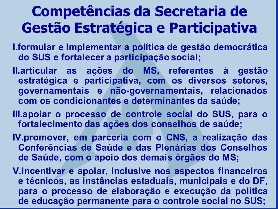 Competências da Secretaria de Gestão Estratégica e Participativa I.formular e implementar a política de gestão democrática do SUS e fortalecer a parti