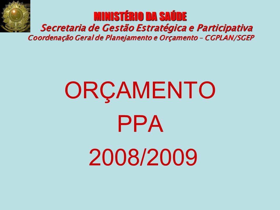 MINISTÉRIO DA SAÚDE Secretaria de Gestão Estratégica e Participativa Coordenação Geral de Planejamento e Orçamento – CGPLAN/SGEP ORÇAMENTO PPA 2008/20