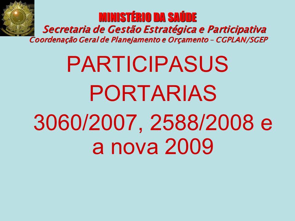 MINISTÉRIO DA SAÚDE Secretaria de Gestão Estratégica e Participativa Coordenação Geral de Planejamento e Orçamento – CGPLAN/SGEP PARTICIPASUS PORTARIA