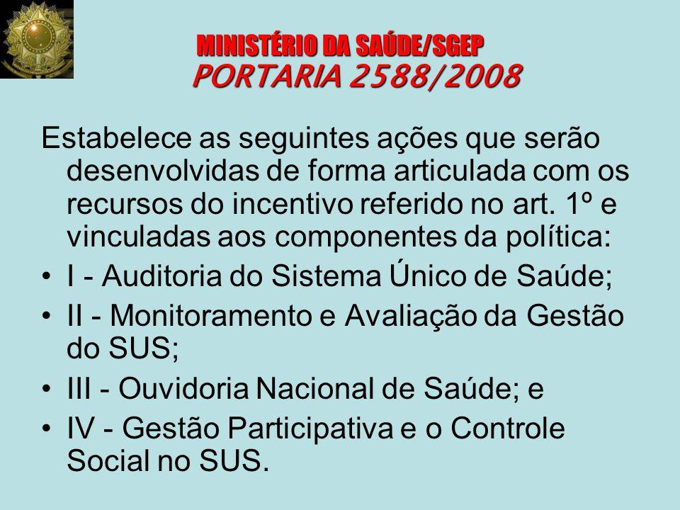 MINISTÉRIO DA SAÚDE/SGEP PORTARIA 2588/2008 Estabelece as seguintes ações que serão desenvolvidas de forma articulada com os recursos do incentivo ref