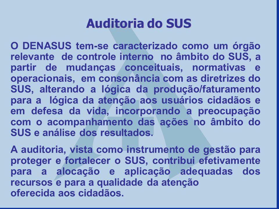 O DENASUS tem-se caracterizado como um órgão relevante de controle interno no âmbito do SUS, a partir de mudanças conceituais, normativas e operaciona