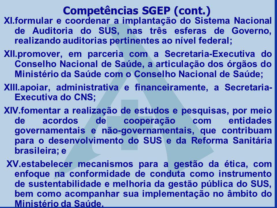 XI.formular e coordenar a implantação do Sistema Nacional de Auditoria do SUS, nas três esferas de Governo, realizando auditorias pertinentes ao nível
