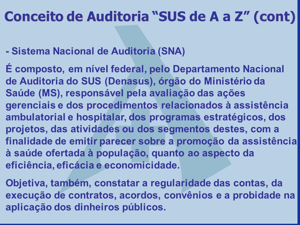 - Sistema Nacional de Auditoria (SNA) É composto, em nível federal, pelo Departamento Nacional de Auditoria do SUS (Denasus), órgão do Ministério da S
