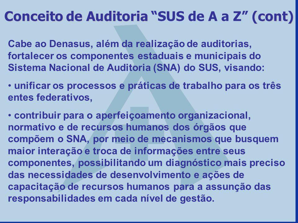 Cabe ao Denasus, além da realização de auditorias, fortalecer os componentes estaduais e municipais do Sistema Nacional de Auditoria (SNA) do SUS, vis