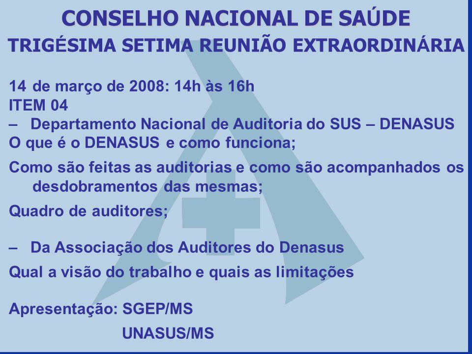 14de março de 2008: 14h às 16h ITEM 04 – Departamento Nacional de Auditoria do SUS – DENASUS O que é o DENASUS e como funciona; Como são feitas as aud