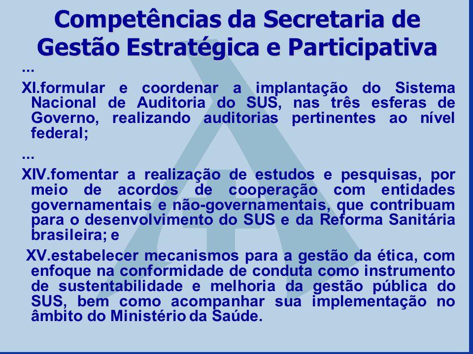 Competências da Secretaria de Gestão Estratégica e Participativa... XI.formular e coordenar a implantação do Sistema Nacional de Auditoria do SUS, nas