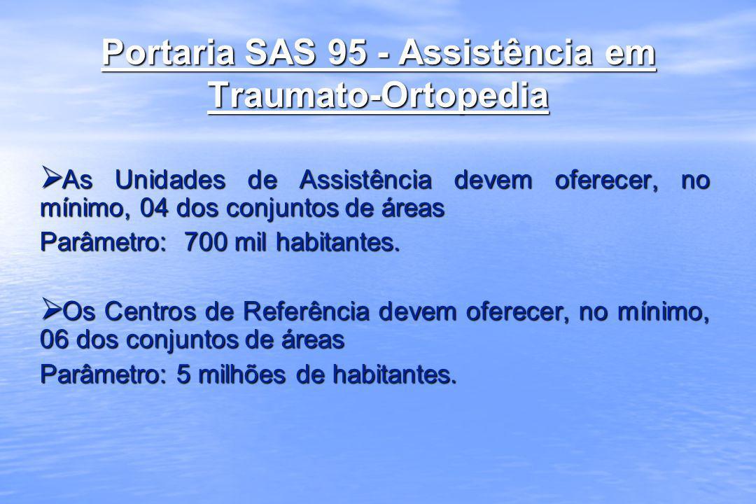 Portaria SAS 95 - Assistência em Traumato-Ortopedia As Unidades de Assistência devem oferecer, no mínimo, 04 dos conjuntos de áreas As Unidades de Ass