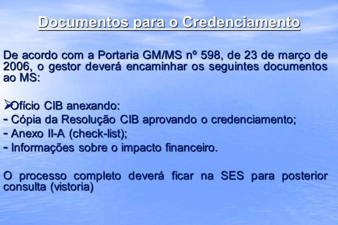 Documentos para o Credenciamento De acordo com a Portaria GM/MS nº 598, de 23 de março de 2006, o gestor deverá encaminhar os seguintes documentos ao