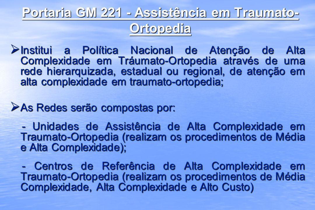 Portaria GM 221 - Assistência em Traumato- Ortopedia Institui a Política Nacional de Atenção de Alta Complexidade em Tráumato-Ortopedia através de uma