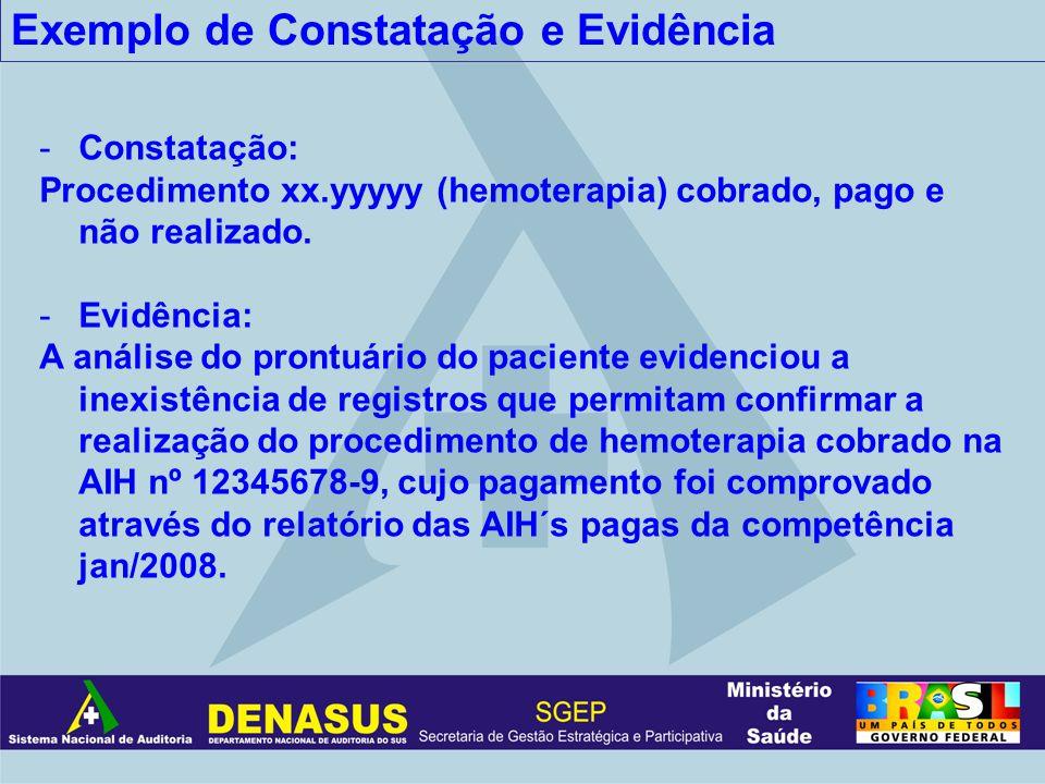 Exemplo de Constatação e Evidência -Constatação: Procedimento xx.yyyyy (hemoterapia) cobrado, pago e não realizado. -Evidência: A análise do prontuári