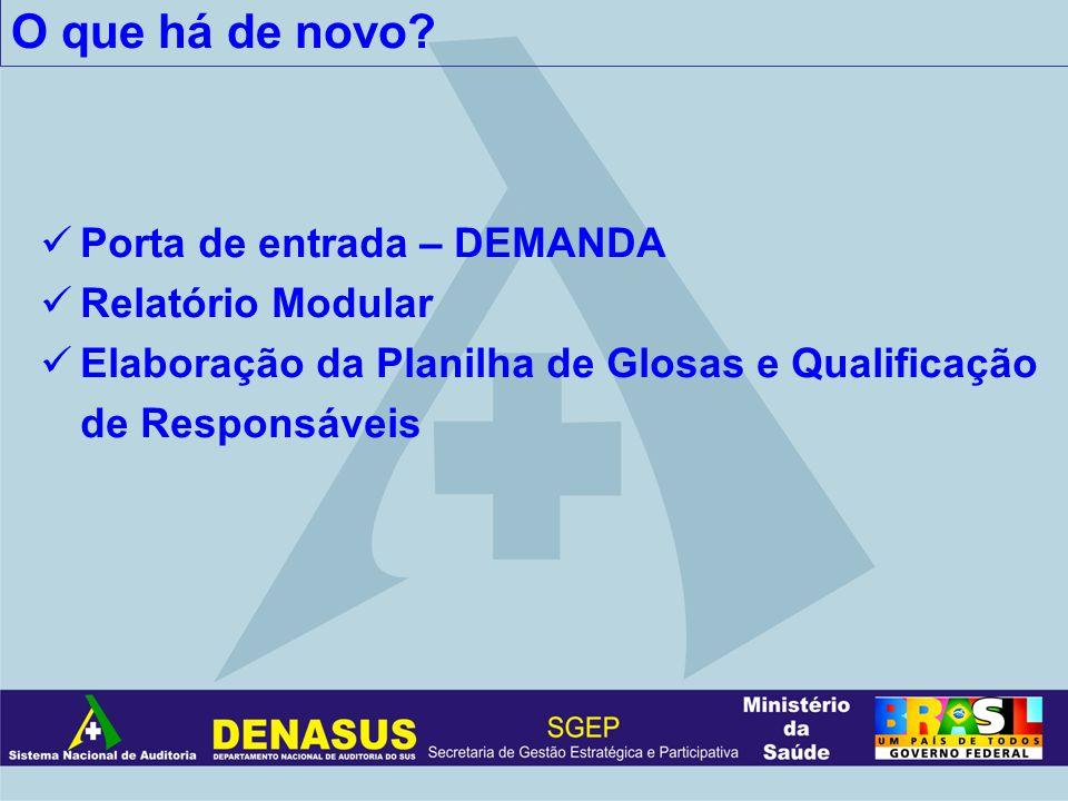 O que há de novo? Porta de entrada – DEMANDA Relatório Modular Elaboração da Planilha de Glosas e Qualificação de Responsáveis