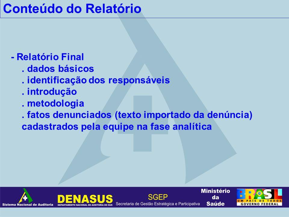 Conteúdo do Relatório - Relatório Final. dados básicos. identificação dos responsáveis. introdução. metodologia. fatos denunciados (texto importado da