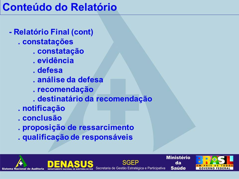 Conteúdo do Relatório - Relatório Final (cont). constatações. constatação. evidência. defesa. análise da defesa. recomendação. destinatário da recomen