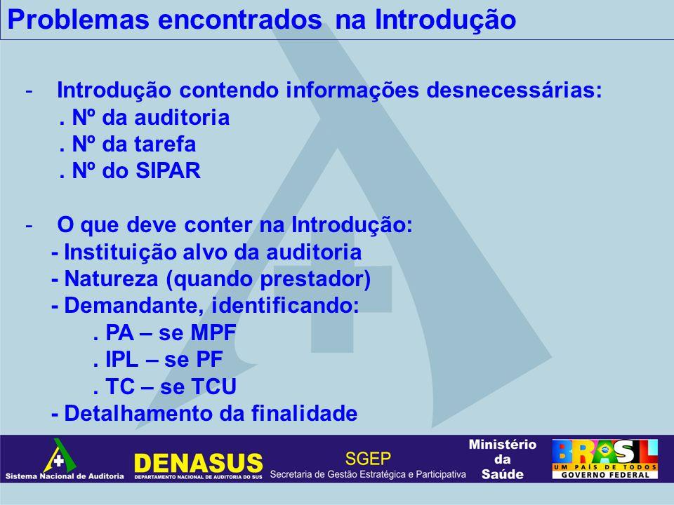 Problemas encontrados na Introdução - Introdução contendo informações desnecessárias:. Nº da auditoria. Nº da tarefa. Nº do SIPAR - O que deve conter
