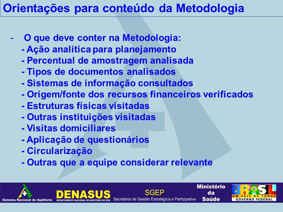 Orientações para conteúdo da Metodologia - O que deve conter na Metodologia: - Ação analítica para planejamento - Percentual de amostragem analisada -