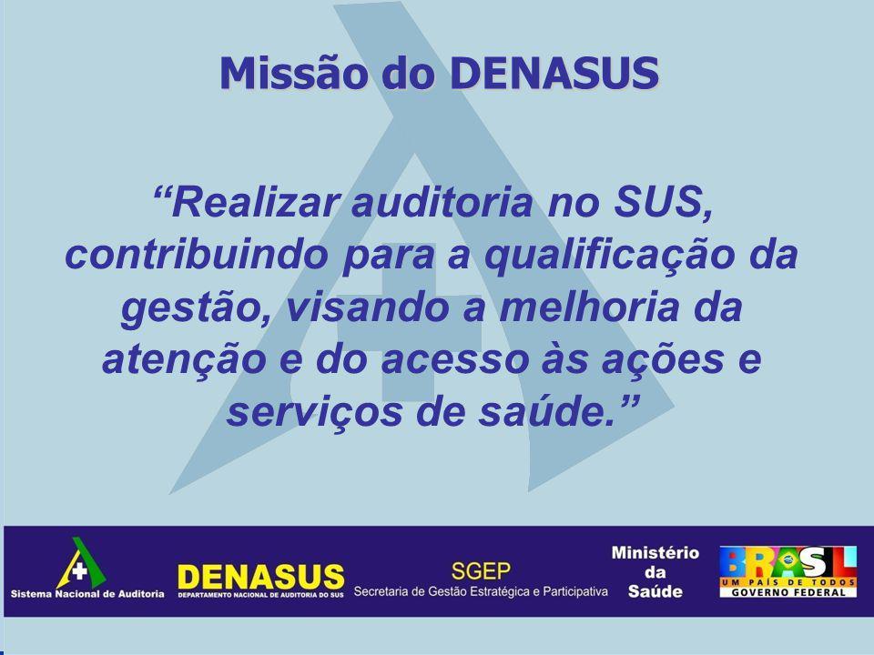 Missão do DENASUS Realizar auditoria no SUS, contribuindo para a qualificação da gestão, visando a melhoria da atenção e do acesso às ações e serviços