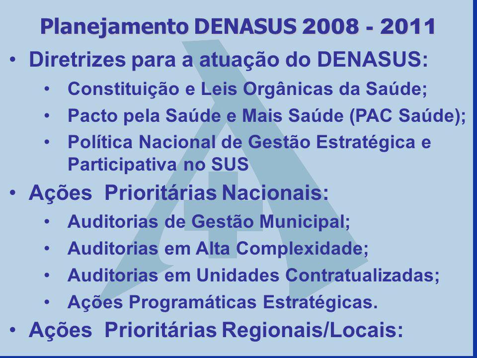Diretrizes para a atuação do DENASUS: Constituição e Leis Orgânicas da Saúde; Pacto pela Saúde e Mais Saúde (PAC Saúde); Política Nacional de Gestão E