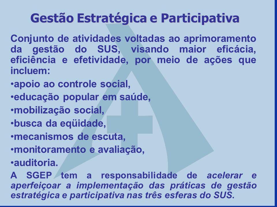 Conjunto de atividades voltadas ao aprimoramento da gestão do SUS, visando maior eficácia, eficiência e efetividade, por meio de ações que incluem: ap