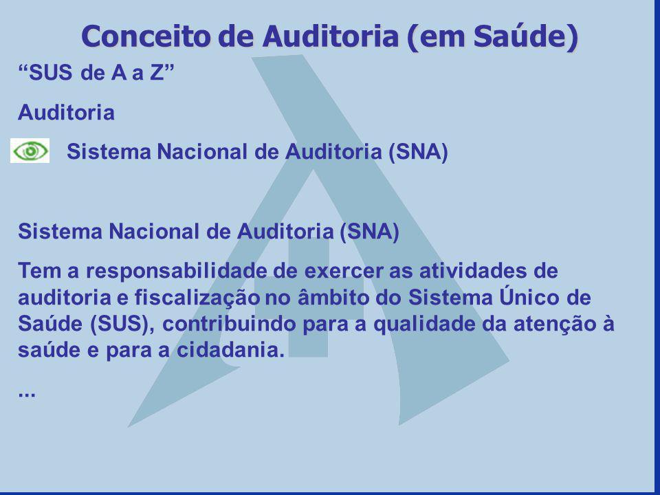 SUS de A a Z Auditoria Sistema Nacional de Auditoria (SNA) Tem a responsabilidade de exercer as atividades de auditoria e fiscalização no âmbito do Si
